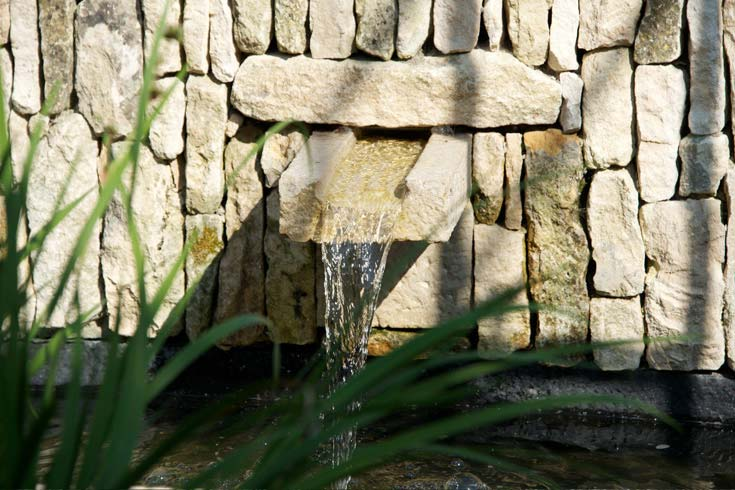 Cleve West, Landscape Design, Garden Designer, Award Winning, Horatio's Garden, water spout, drystone walling